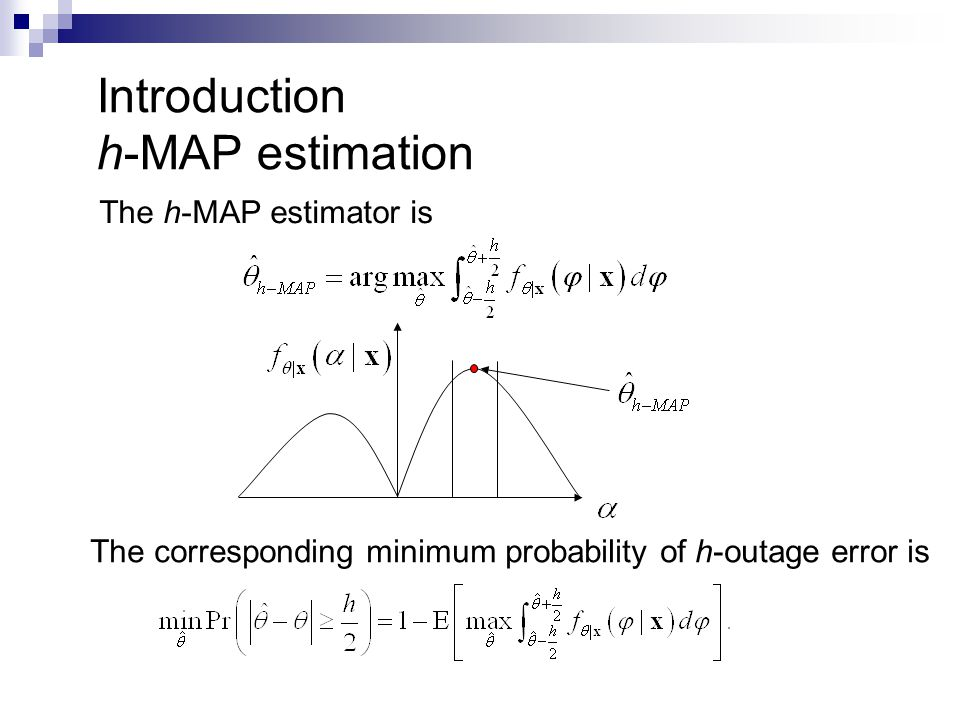 Introduction h-MAP estimation The h-MAP estimator is The corresponding minimum probability of h-outage error is