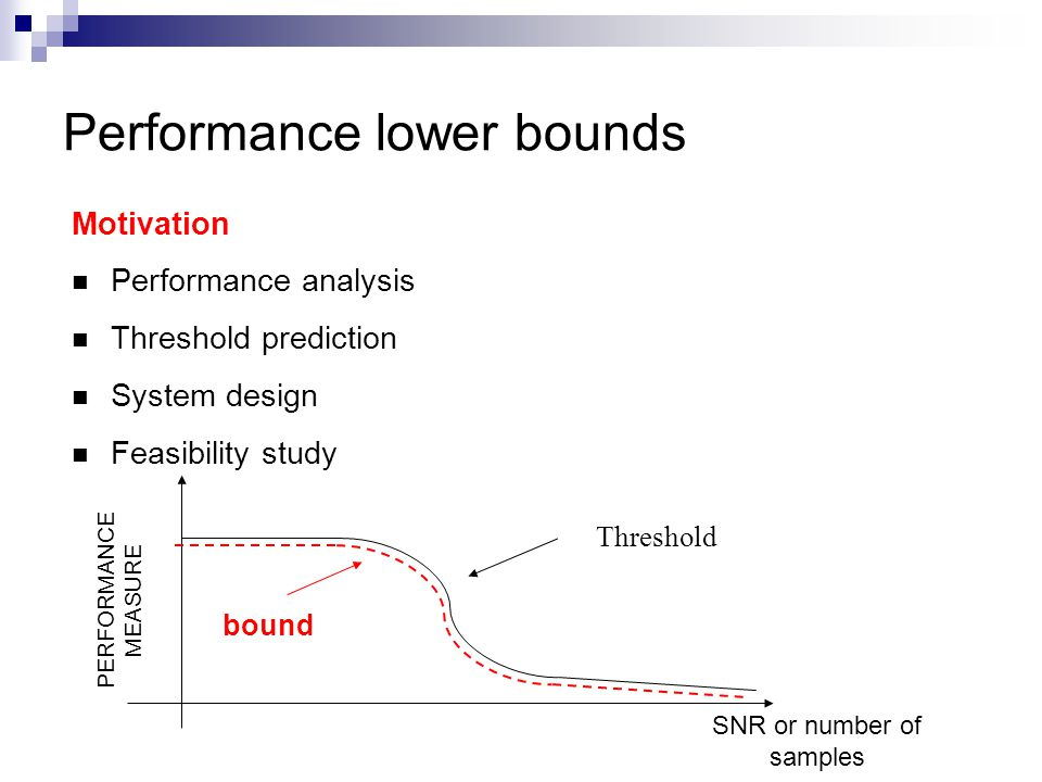 Performance lower bounds Motivation Performance analysis Threshold prediction System design Feasibility study Threshold bound PERFORMANCE MEASURE SNR or number of samples