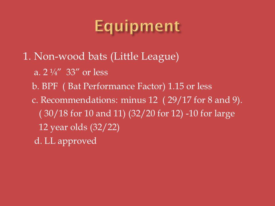 1. Non-wood bats (Little League) a. 2 ¼ 33 or less b.