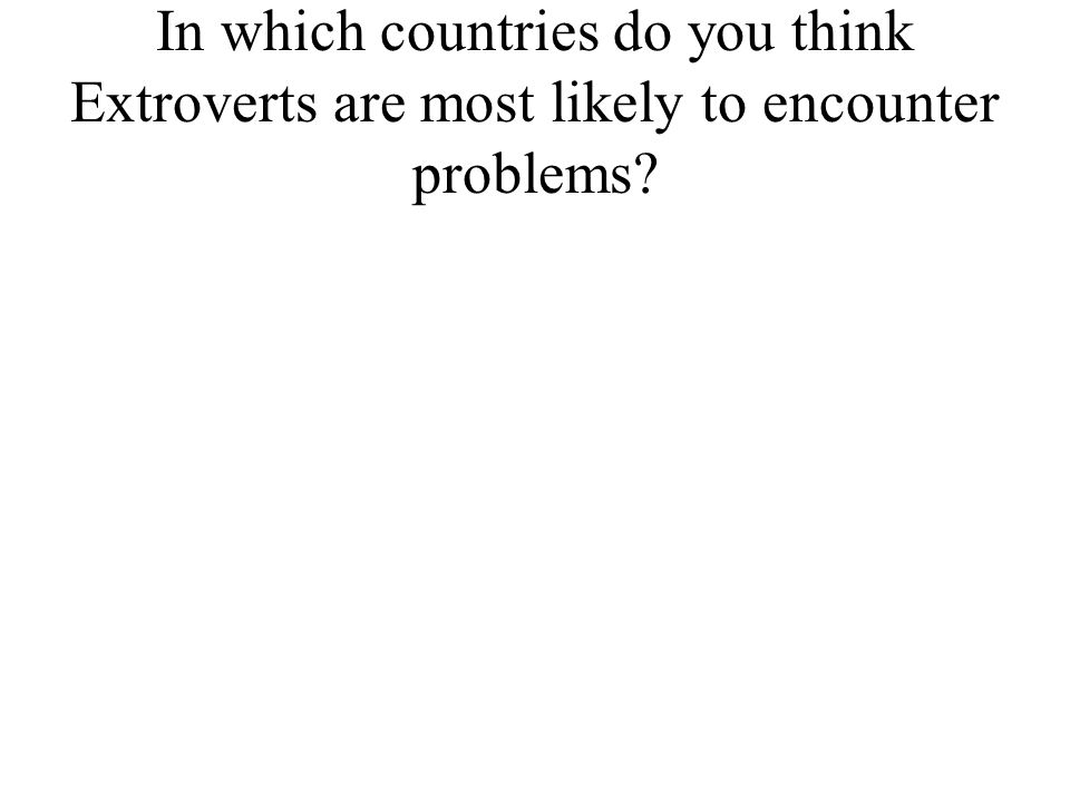 In which countries do you think Extroverts are most likely to encounter problems