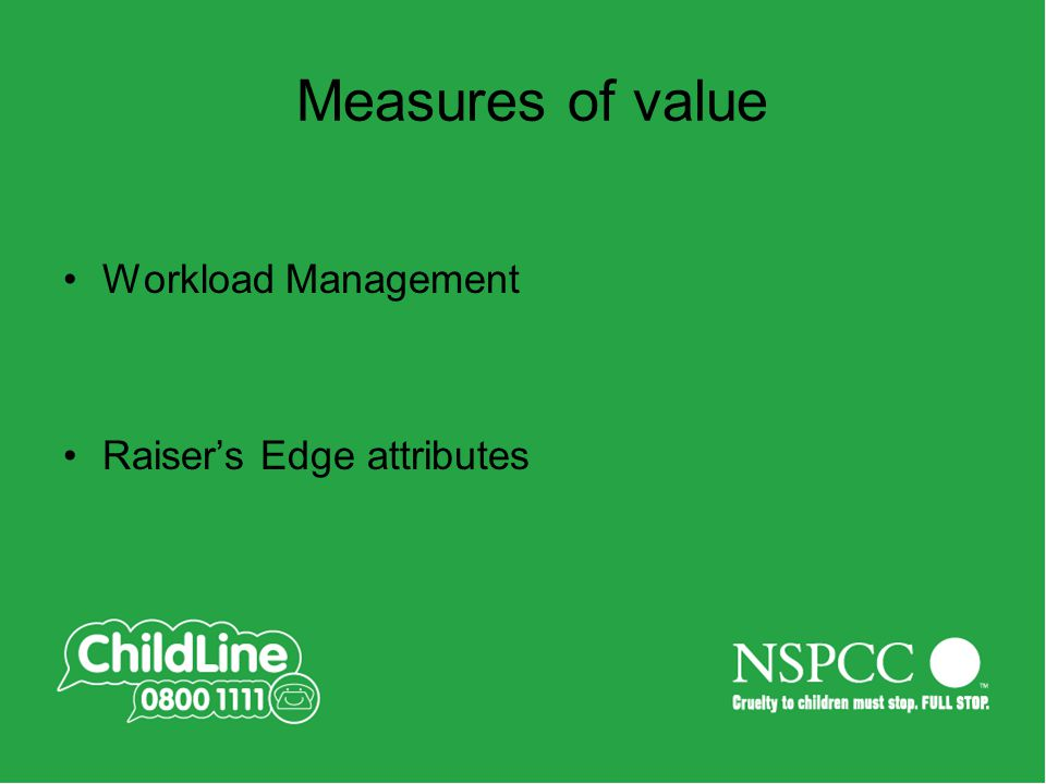 Measures of value Workload Management Raiser's Edge attributes