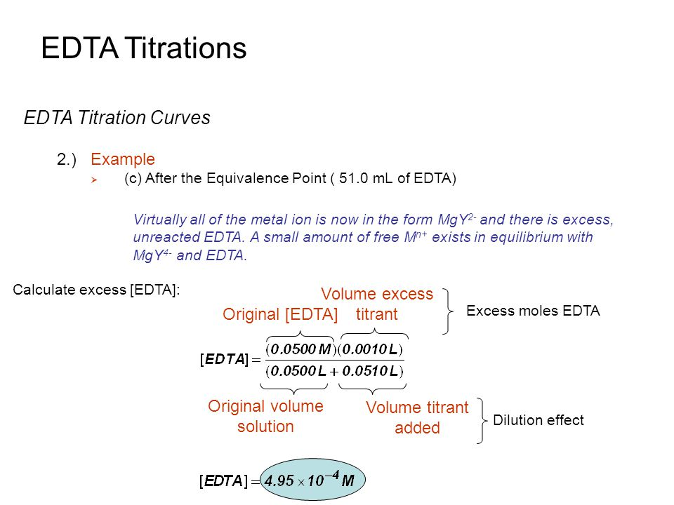 EDTA Titrations EDTA Titration Curves 2.)Example  (c) After the Equivalence Point ( 51.0 mL of EDTA) Virtually all of the metal ion is now in the for