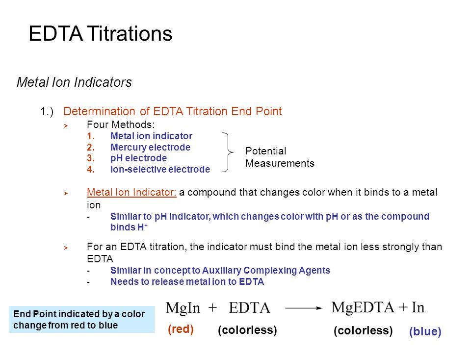 EDTA Titrations Metal Ion Indicators 1.)Determination of EDTA Titration End Point  Four Methods: 1.Metal ion indicator 2.Mercury electrode 3.pH elect