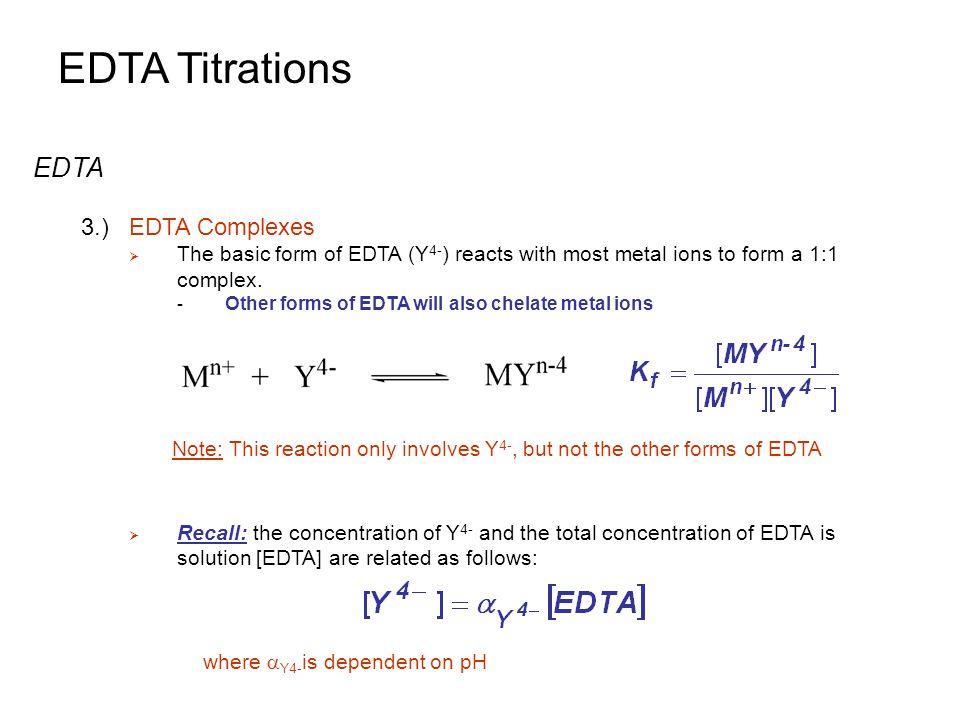 EDTA Titrations Metal Ion Indicators 3.)Common Metal Ion Indicators  Useful pH ranges