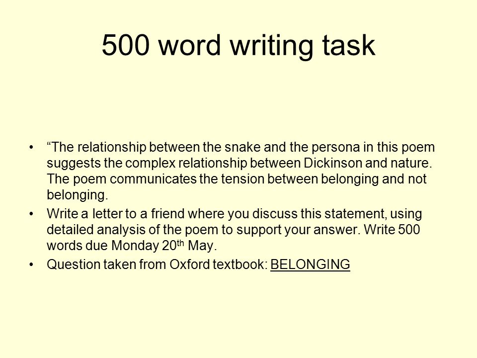 """""""The relationship between the snake and the persona in this poem suggests the complex relationship between Dickinson and nature. The poem communicates"""