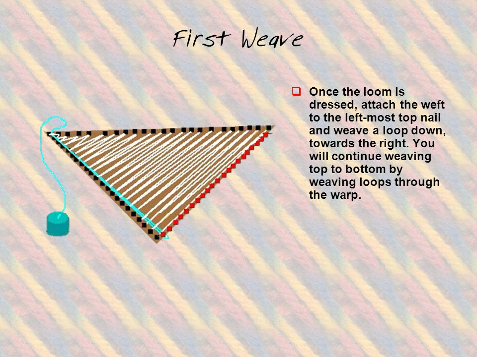 First Weave  Once the loom is dressed, attach the weft to the left-most top nail and weave a loop down, towards the right.