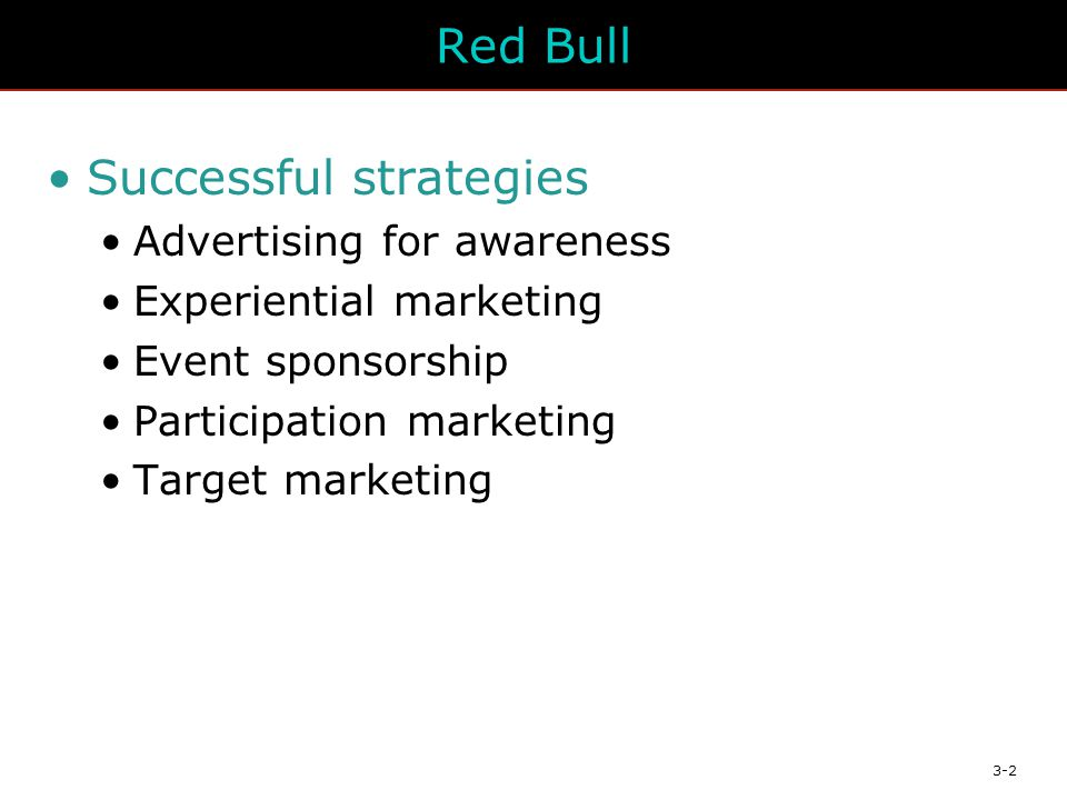 3-2 Red Bull Successful strategies Advertising for awareness Experiential marketing Event sponsorship Participation marketing Target marketing