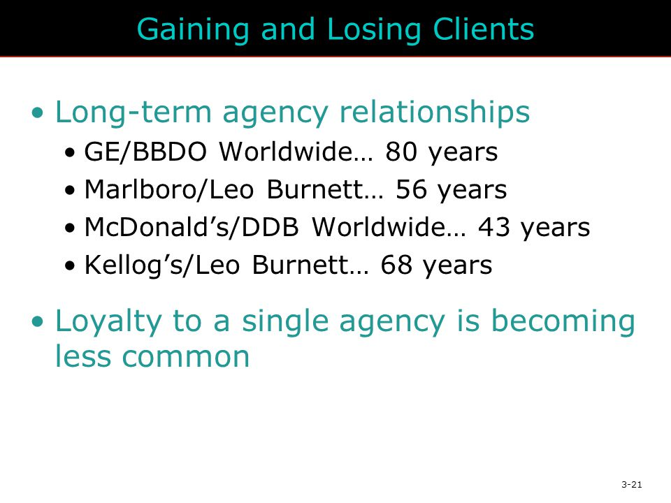 3-21 Gaining and Losing Clients Long-term agency relationships GE/BBDO Worldwide… 80 years Marlboro/Leo Burnett… 56 years McDonald's/DDB Worldwide… 43 years Kellog's/Leo Burnett… 68 years Loyalty to a single agency is becoming less common