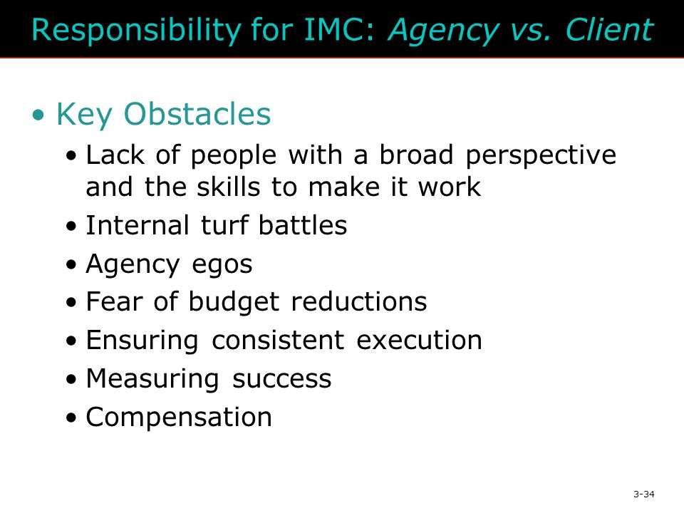 3-34 Responsibility for IMC: Agency vs.