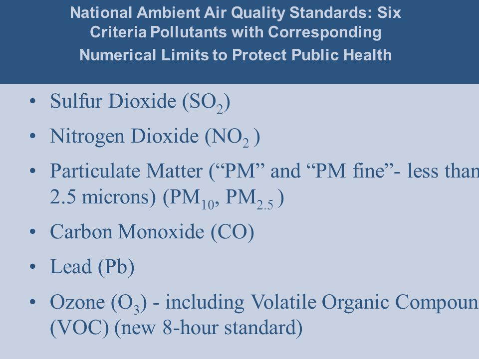 Sulfur Dioxide (SO 2 ) Nitrogen Dioxide (NO 2 ) Particulate Matter ( PM and PM fine - less than 2.5 microns) (PM 10, PM 2.5 ) Carbon Monoxide (CO) Lead (Pb) Ozone (O 3 ) - including Volatile Organic Compounds (VOC) (new 8-hour standard) National Ambient Air Quality Standards: Six Criteria Pollutants with Corresponding Numerical Limits to Protect Public Health
