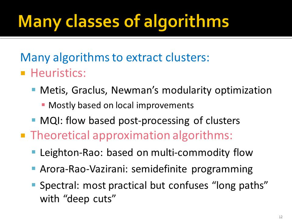 Many algorithms to extract clusters:  Heuristics:  Metis, Graclus, Newman's modularity optimization  Mostly based on local improvements  MQI: flow based post-processing of clusters  Theoretical approximation algorithms:  Leighton-Rao: based on multi-commodity flow  Arora-Rao-Vazirani: semidefinite programming  Spectral: most practical but confuses long paths with deep cuts 12