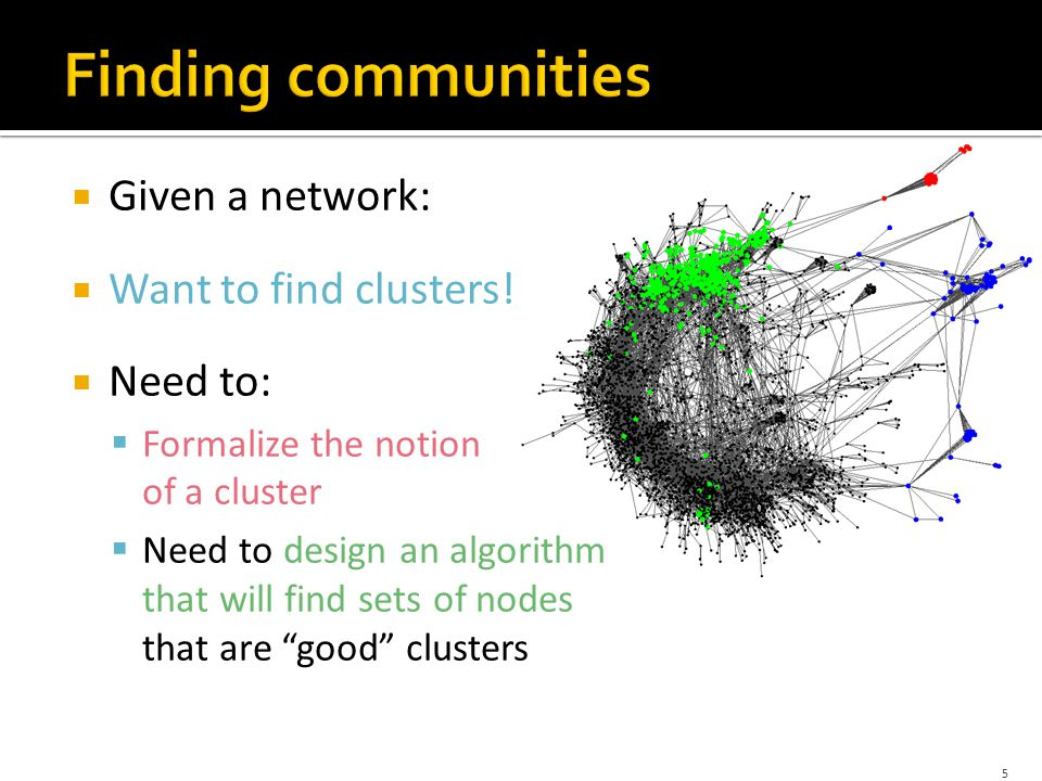  Given a network:  Want to find clusters.
