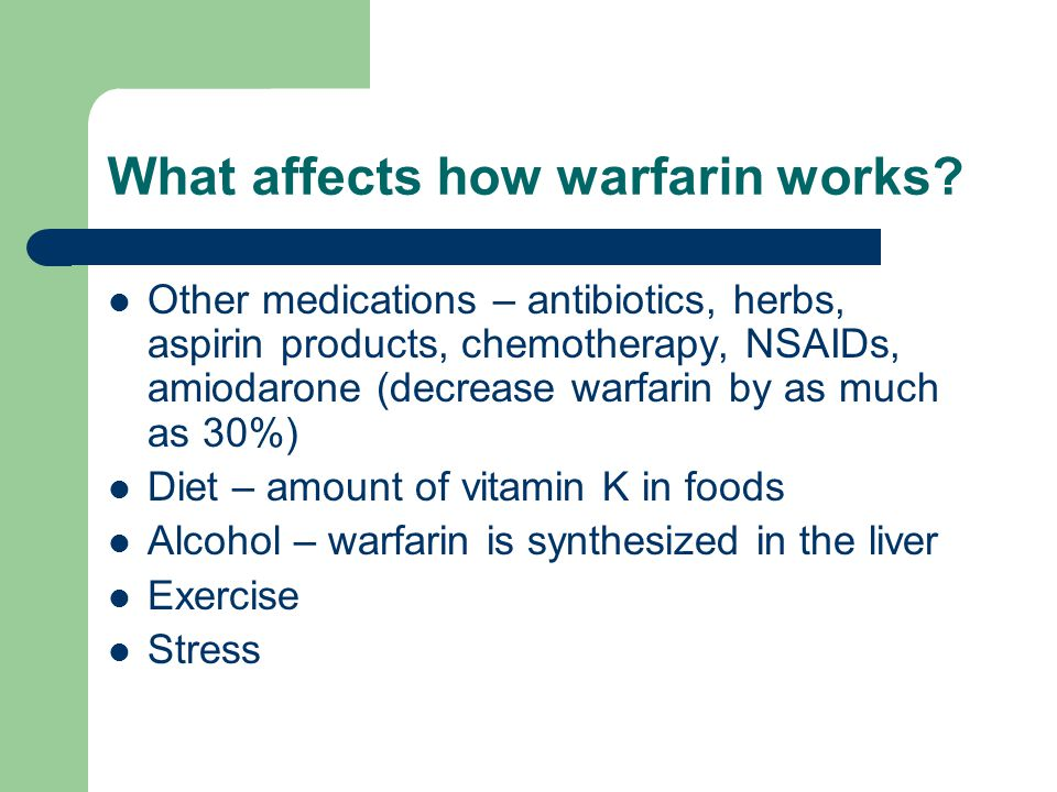 What affects how warfarin works.