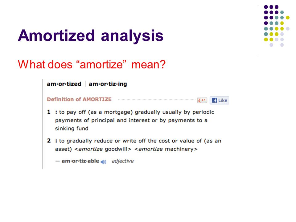 Amortized analysis What does amortize mean
