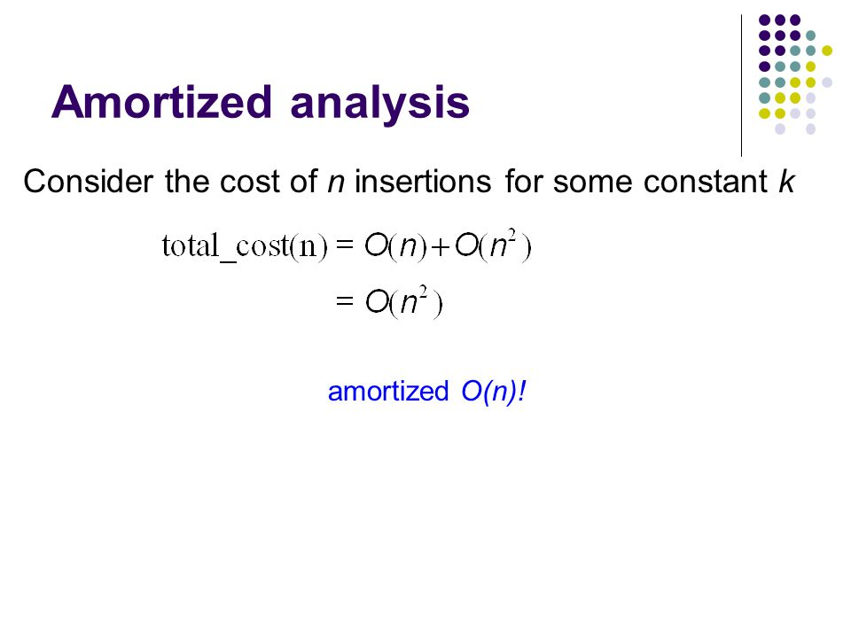 Amortized analysis Consider the cost of n insertions for some constant k amortized O(n)!