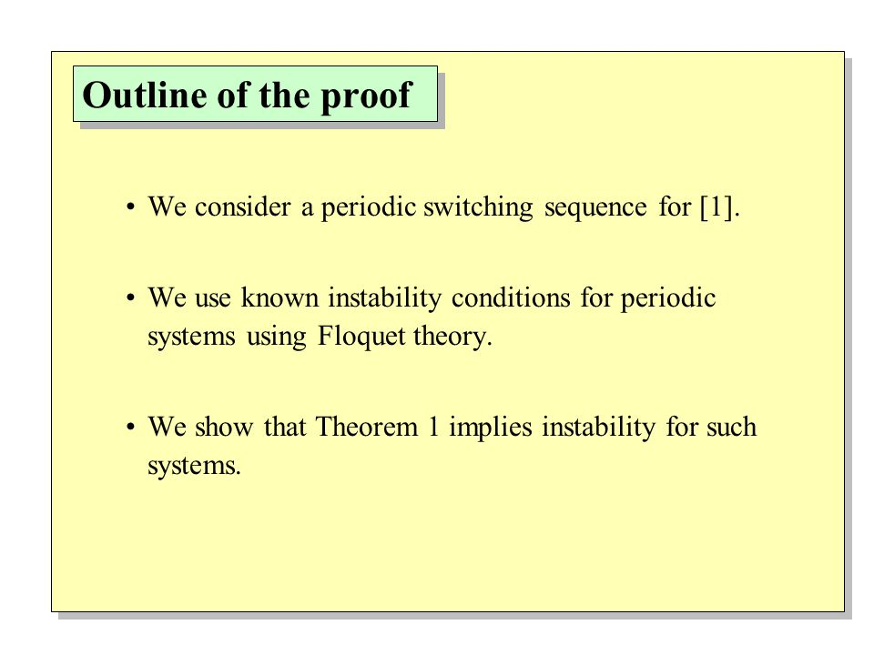 Outline of the proof We consider a periodic switching sequence for [1].