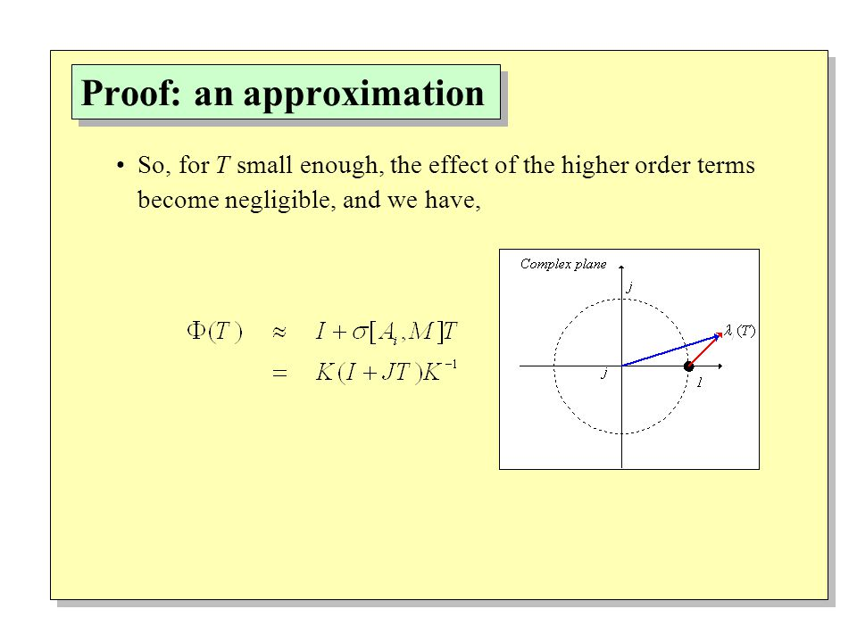 Proof: an approximation So, for T small enough, the effect of the higher order terms become negligible, and we have,