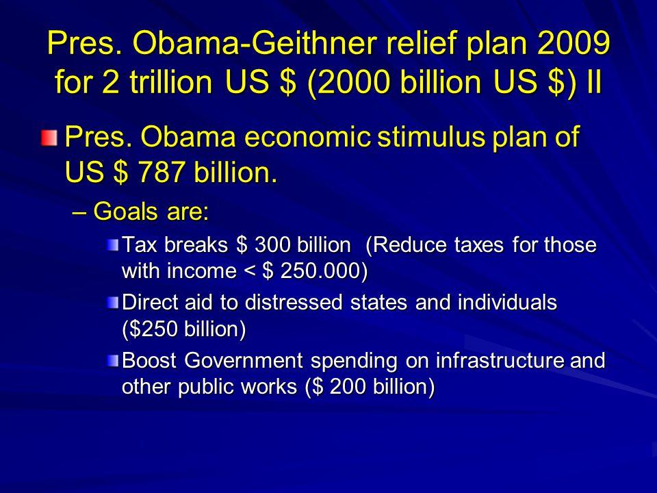 Pres. Obama-Geithner relief plan 2009 for 2 trillion US $ (2000 billion US $) II Pres.