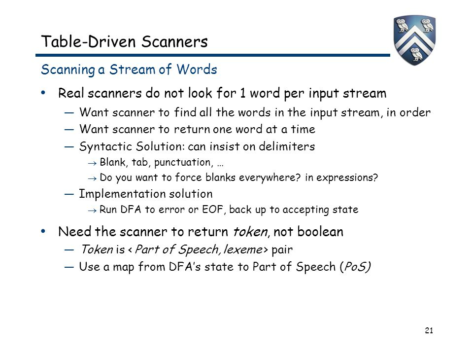 21 Table-Driven Scanners Scanning a Stream of Words Real scanners do not look for 1 word per input stream —Want scanner to find all the words in the i