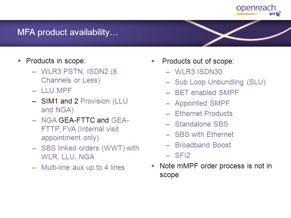 MFA product availability…  Products in scope: –WLR3 PSTN, ISDN2 (8 Channels or Less) –LLU MPF –SIM1 and 2 Provision (LLU and NGA) –NGA GEA-FTTC and G