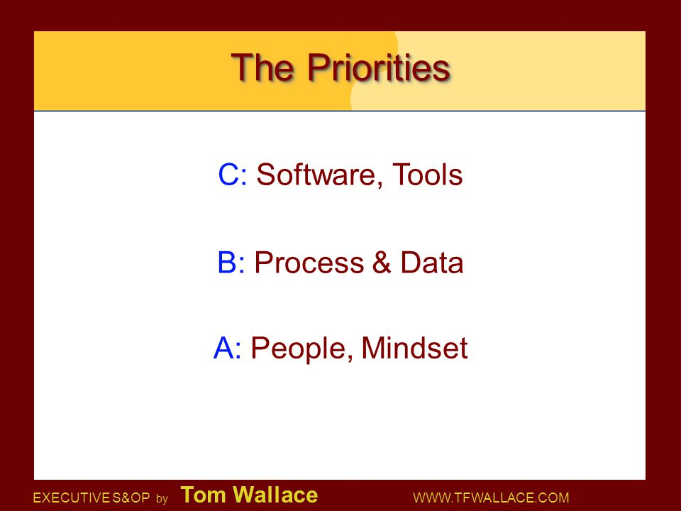 EXECUTIVE S&OP by Tom Wallace WWW.TFWALLACE.COM The Priorities C: Software, Tools B: Process & Data A: People, Mindset