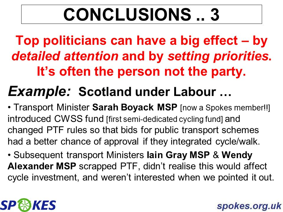 Top politicians can have a big effect – by detailed attention and by setting priorities. It's often the person not the party. Example: Scotland under