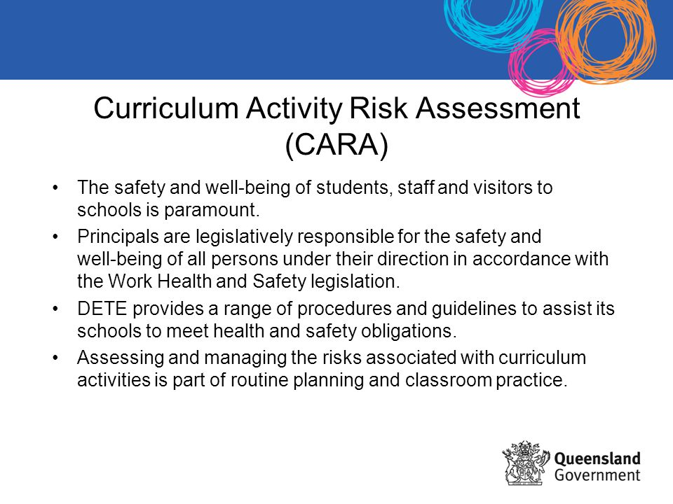 Curriculum Activity Risk Assessment (CARA) The safety and well-being of students, staff and visitors to schools is paramount.