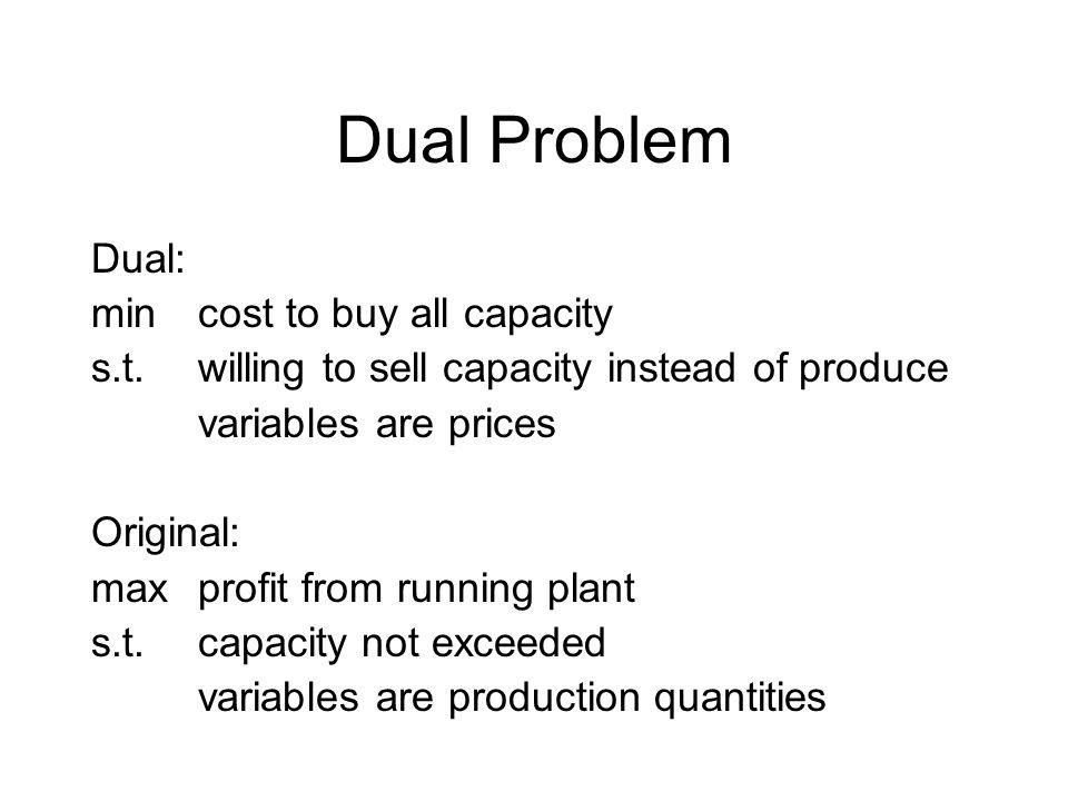 Dual Problem Dual: minprice E * 120 hr engine shop capacity + … s.t.3hr * E + 1hr *B + 2hr * SF >= $840 (car profit) … variables E, B, SF, FF, FL are prices Original: max$840 profit * S cars + … s.t.3hr * S + 2hr * F + 1hr * L <= 120hr engine shop capacity … variables S, F, L are production quantities