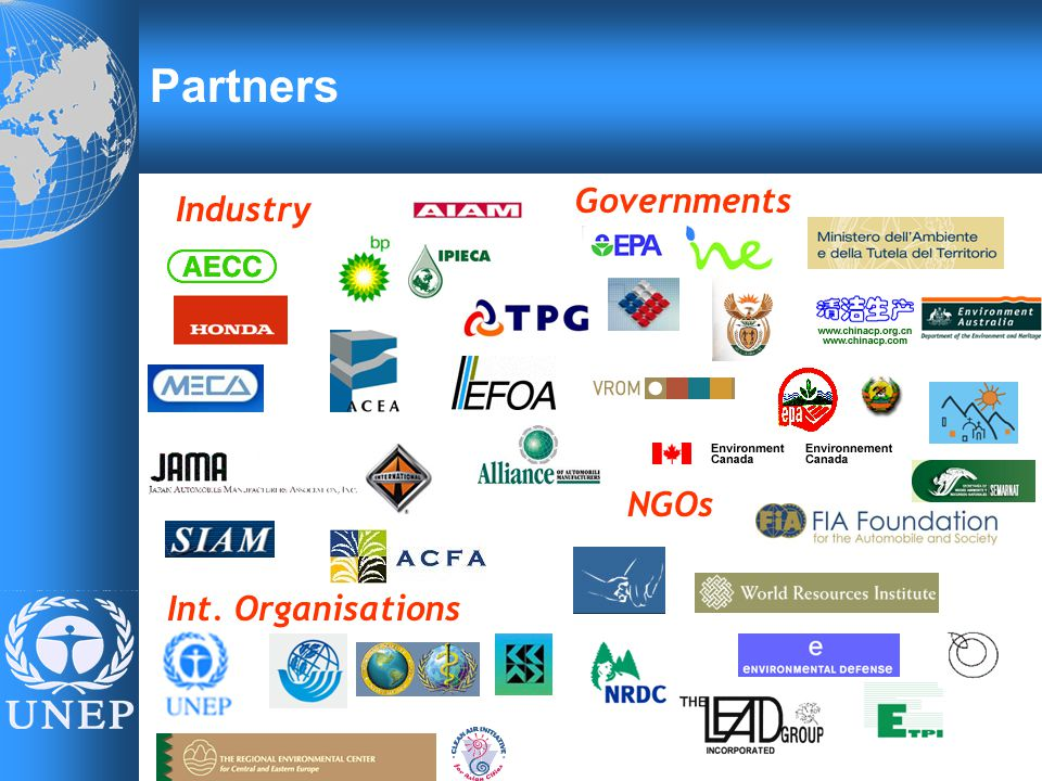 Industry Governments Int. Organisations Partners NGOs
