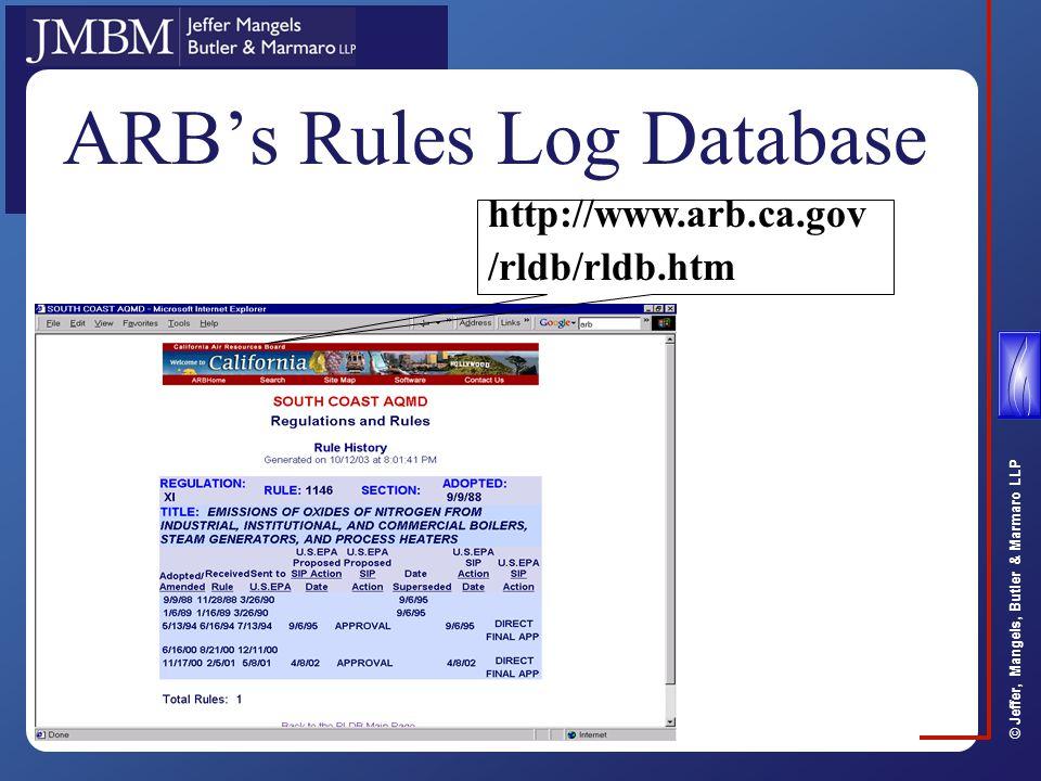 © Jeffer, Mangels, Butler & Marmaro LLP ARB's Rules Log Database http://www.arb.ca.gov /rldb/rldb.htm