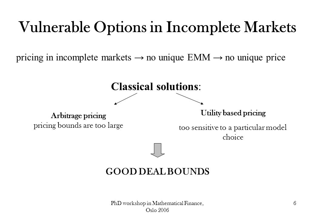 PhD workshop in Mathematical Finance, Oslo 2006 6 Vulnerable Options in Incomplete Markets pricing in incomplete markets → no unique EMM → no unique p