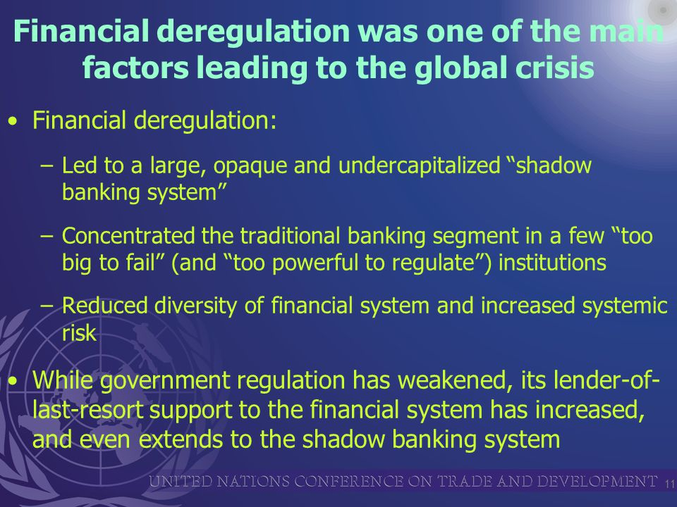 11 Financial deregulation was one of the main factors leading to the global crisis Financial deregulation: –Led to a large, opaque and undercapitalized shadow banking system –Concentrated the traditional banking segment in a few too big to fail (and too powerful to regulate ) institutions –Reduced diversity of financial system and increased systemic risk While government regulation has weakened, its lender-of- last-resort support to the financial system has increased, and even extends to the shadow banking system