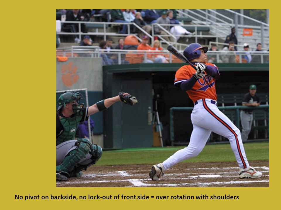 No pivot on backside, no lock-out of front side = over rotation with shoulders