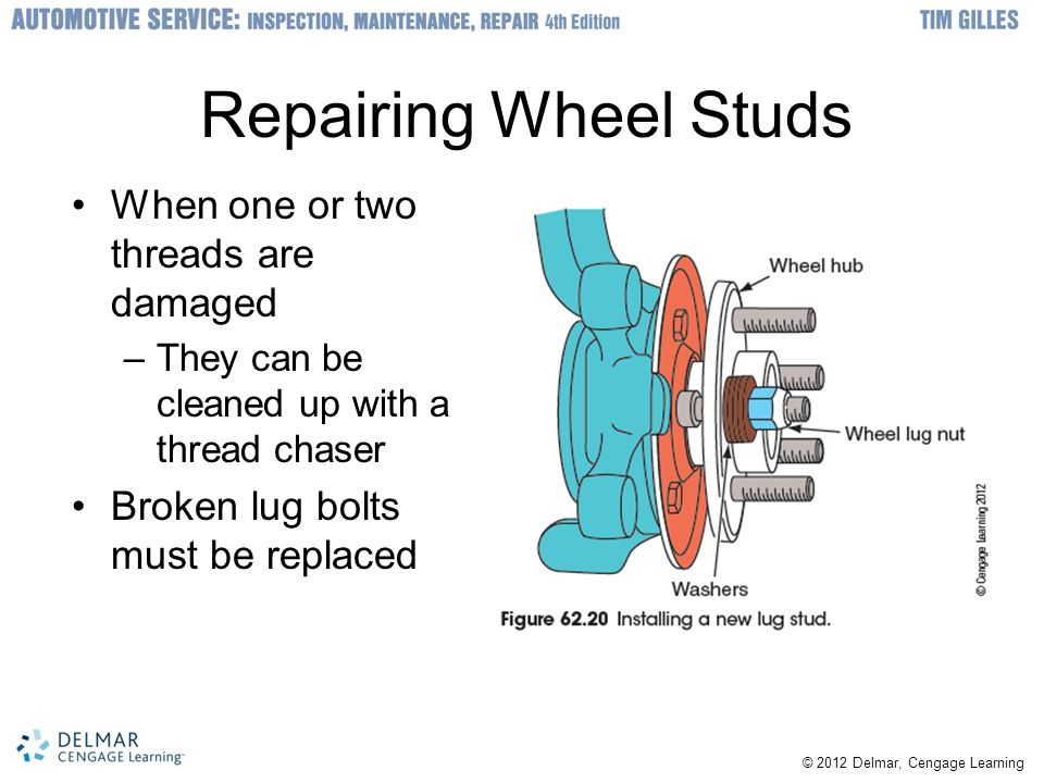 © 2012 Delmar, Cengage Learning Repairing Wheel Studs When one or two threads are damaged –They can be cleaned up with a thread chaser Broken lug bolts must be replaced
