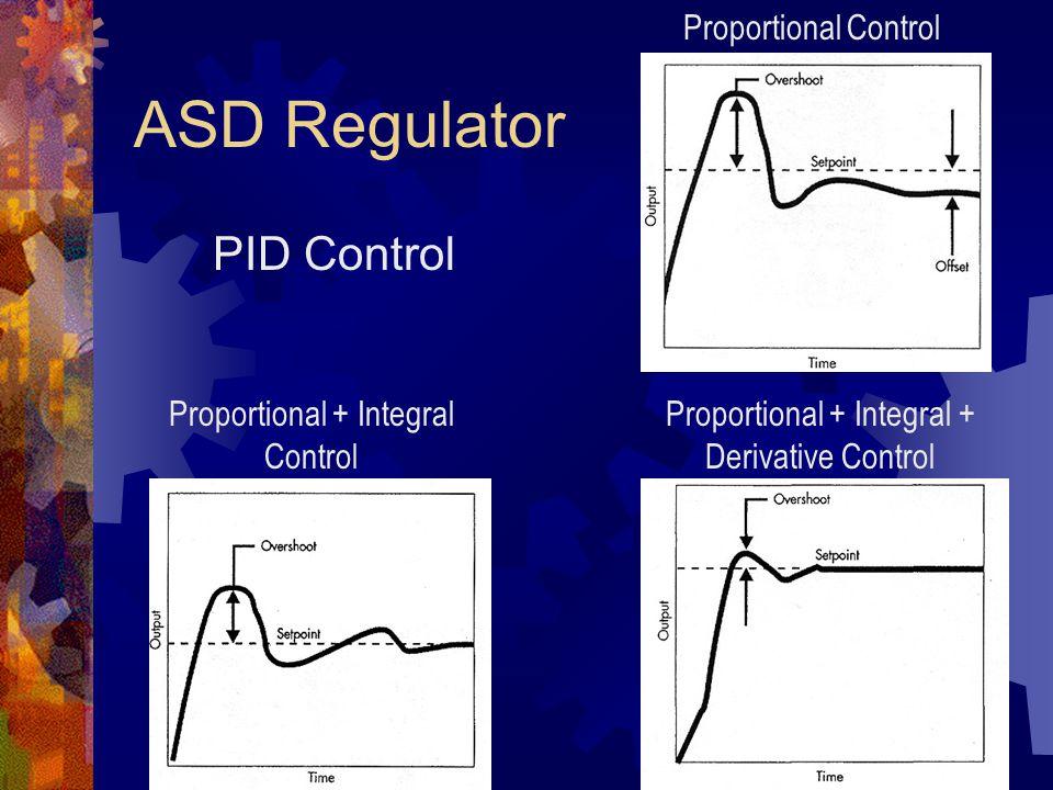 ASD Regulator Proportional Control Proportional + Integral Control Proportional + Integral + Derivative Control PID Control