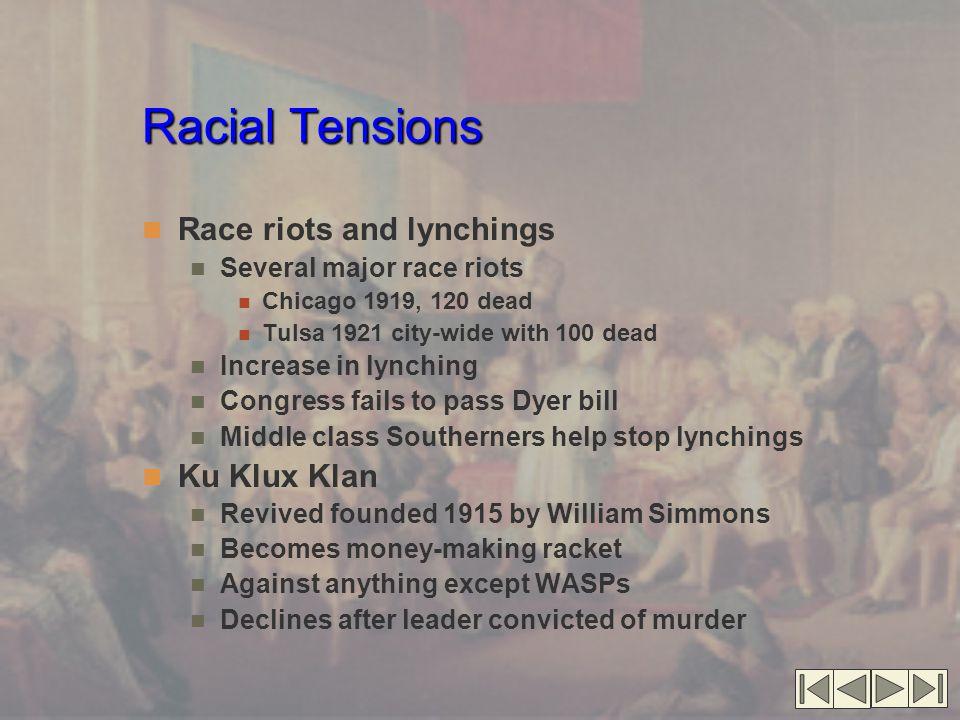 Racial Tensions Racial Tensions (cont.'d) Marcus Garvey calls for racial separation Universal Negro Improvement Association Black pride, create new nation Declines after Garvey imprisoned