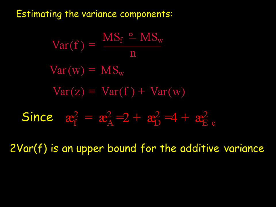 Estimating the variance components: Since 2Var(f) is an upper bound for the additive variance