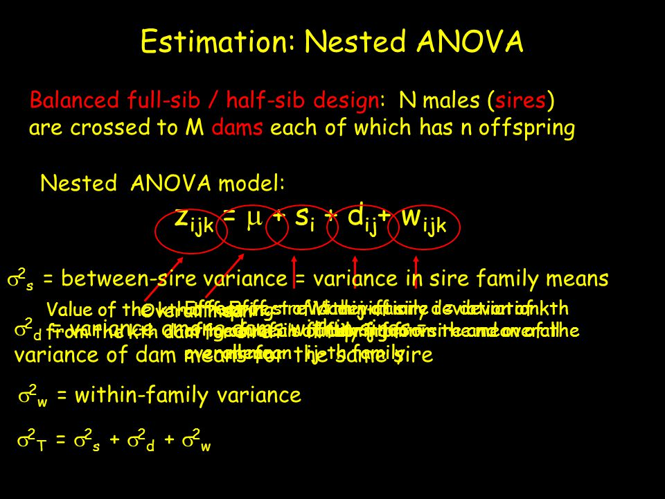 Estimation: Nested ANOVA Balanced full-sib / half-sib design: N males (sires) are crossed to M dams each of which has n offspring Nested ANOVA model: