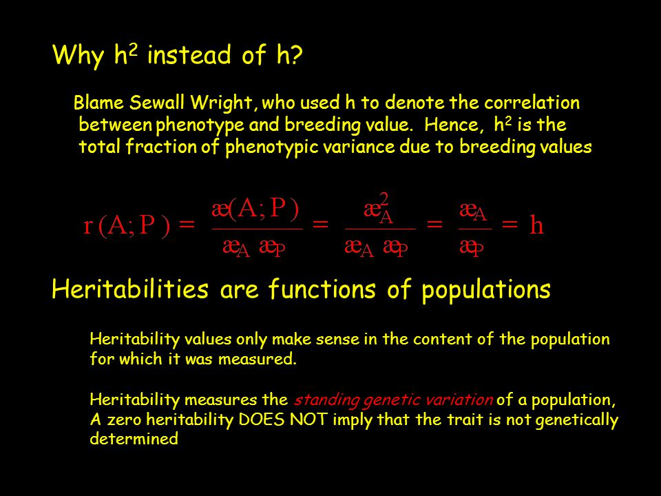 Why h 2 instead of h? Blame Sewall Wright, who used h to denote the correlation between phenotype and breeding value. Hence, h 2 is the total fraction