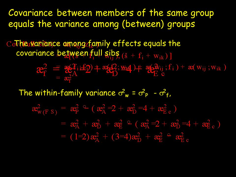 One-way Anova: N families with n sibs, T = Nn FactorDegrees of freedom, df Sums of Squares (SS) Mean sum of squares (MS) E[ MS ] Among-familyN-1SS f =SS f /(N-1)  2 w + n  2 f Within-familyT-NSS W =SS w /(T-N) 2w2w