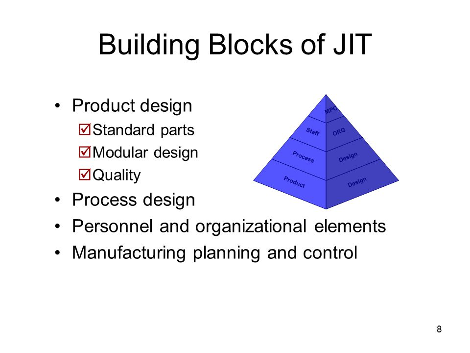 8 Building Blocks of JIT Product design  Standard parts  Modular design  Quality Process design Personnel and organizational elements Manufacturing planning and control