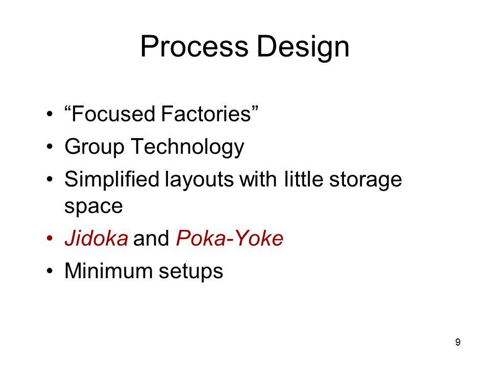 "9 Process Design ""Focused Factories"" Group Technology Simplified layouts with little storage space Jidoka and Poka-Yoke Minimum setups"