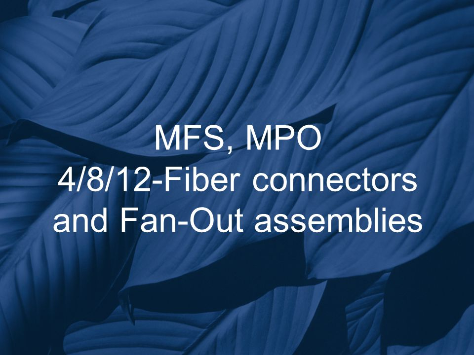 MFS, MPO 4/8/12-Fiber connectors and Fan-Out assemblies
