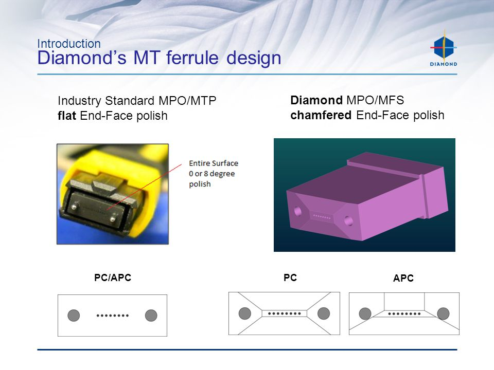 Introduction What makes Diamond's MT ferrule design better Here is why Diamond can offer a 1000 Mate De-Mate life cycle for the MPO and a 500 for the MFS connectors.