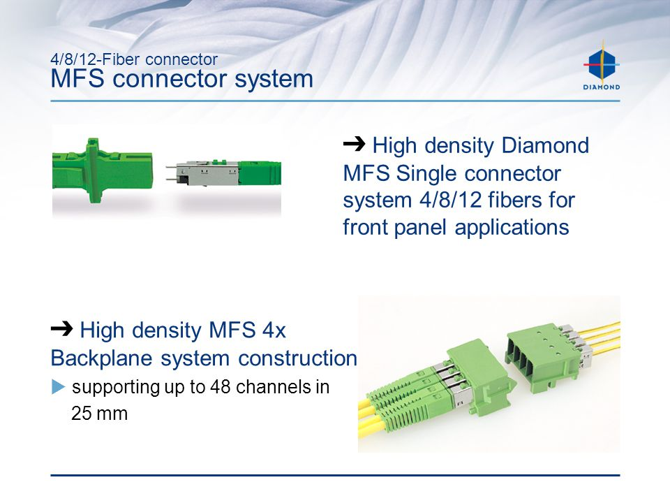4/8/12-Fiber connector MFS connector system ➔ High density MFS 4x Backplane system construction  supporting up to 48 channels in 25 mm ➔ High density Diamond MFS Single connector system 4/8/12 fibers for front panel applications