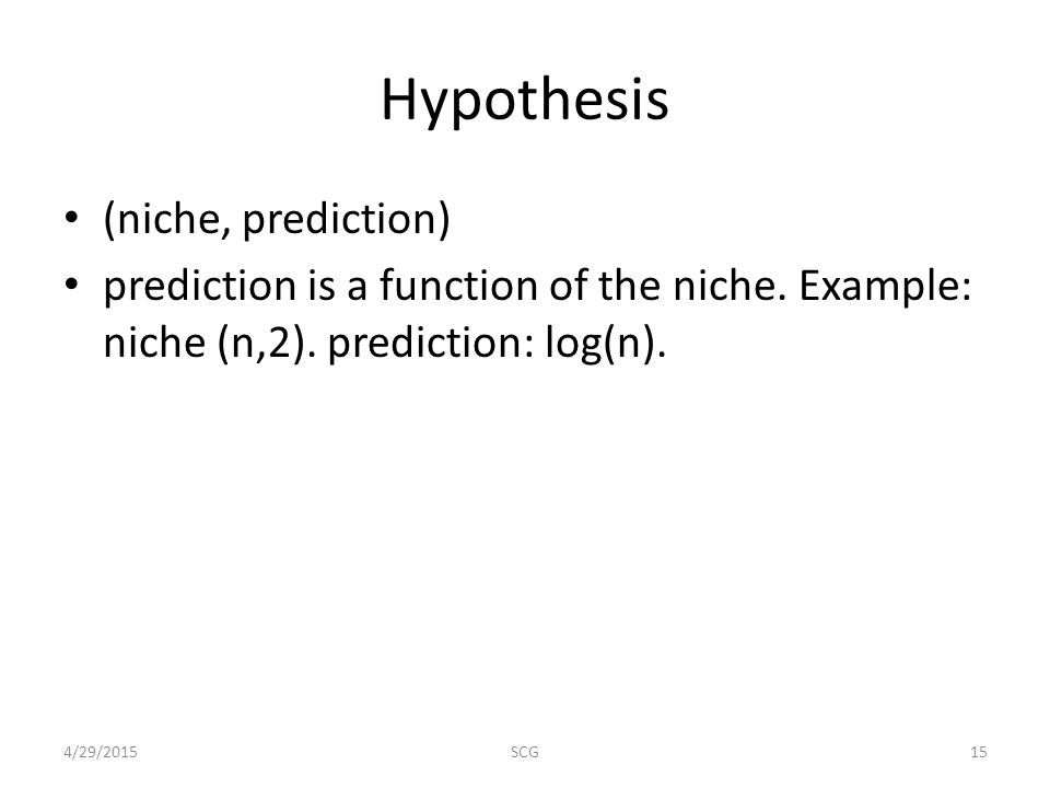 Hypothesis (niche, prediction) prediction is a function of the niche.