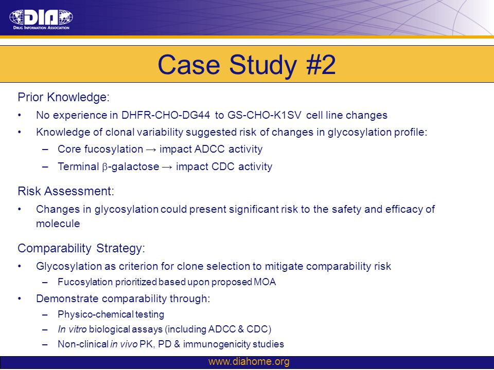 www.diahome.org Case Study #2 Prior Knowledge: No experience in DHFR-CHO-DG44 to GS-CHO-K1SV cell line changes Knowledge of clonal variability suggest