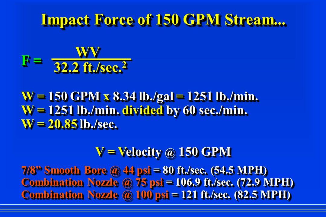 Impact Force of 150 GPM Stream... WV WV 32.2 ft./sec. 2 32.2 ft./sec. 2 W = 150 GPM x 8.34 lb./gal = 1251 lb./min. W = 1251 lb./min. divided by 60 sec