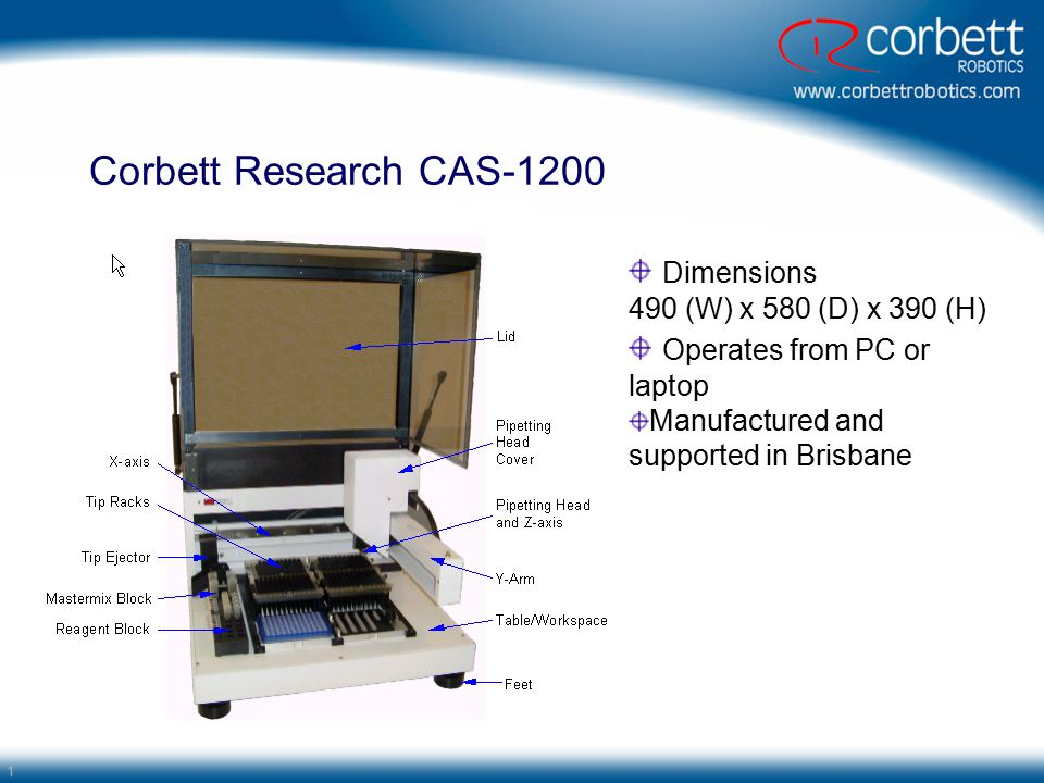 1 Corbett Research CAS-1200 Dimensions 490 (W) x 580 (D) x 390 (H) Operates from PC or laptop Manufactured and supported in Brisbane