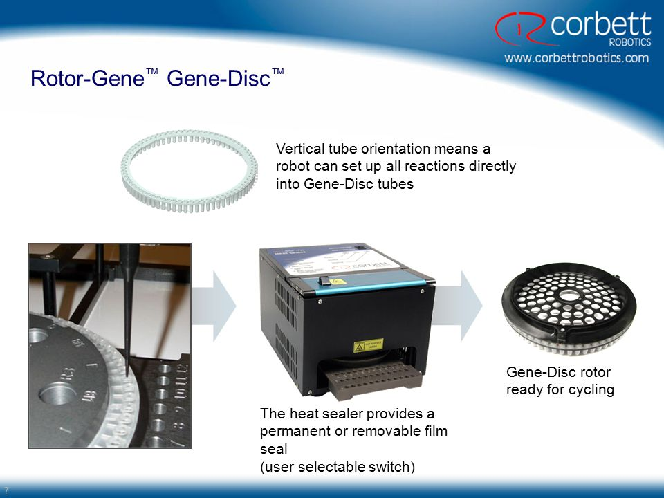 7 Gene-Disc rotor ready for cycling Rotor-Gene ™ Gene-Disc ™ Vertical tube orientation means a robot can set up all reactions directly into Gene-Disc tubes The heat sealer provides a permanent or removable film seal (user selectable switch)